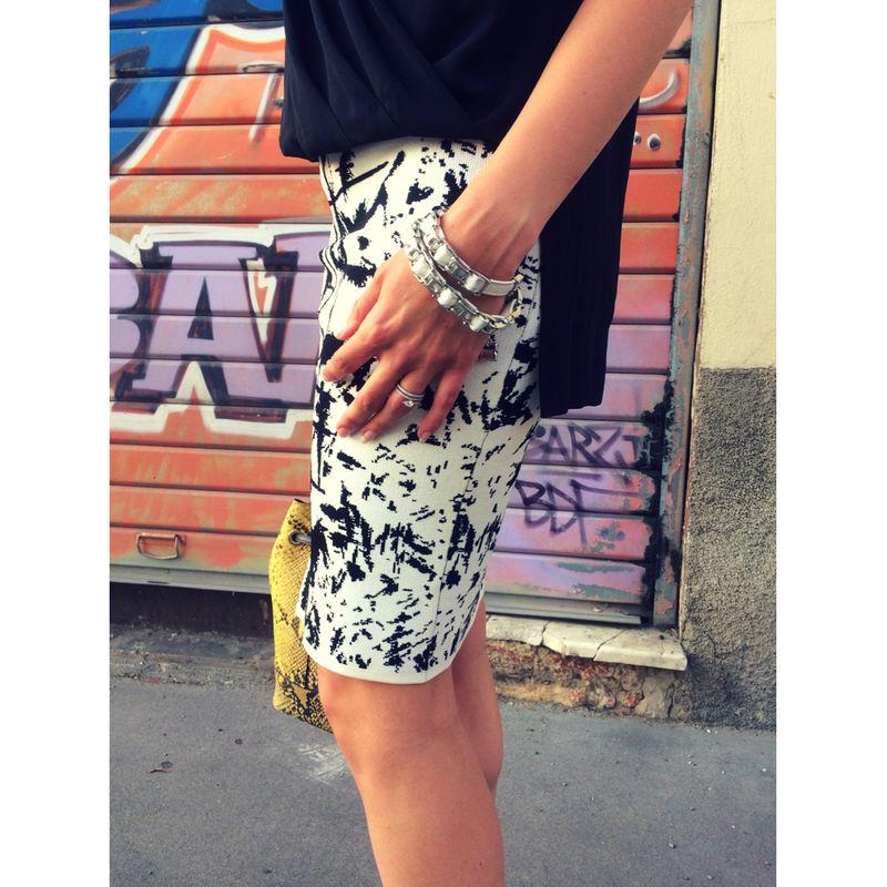porter jupe noire et blanche