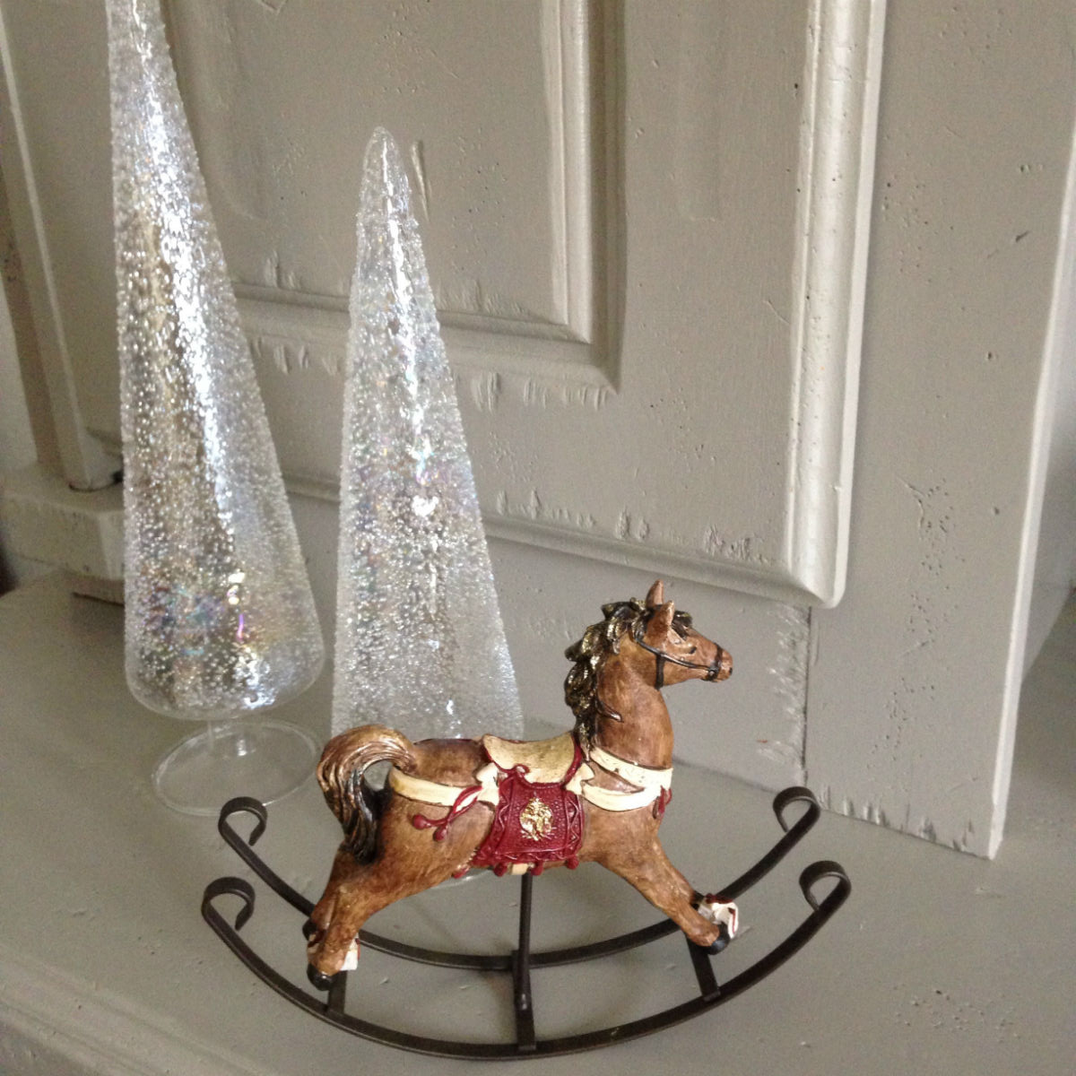 cheval bois decoration noel