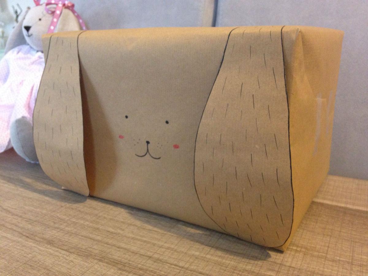 emballage cadeau enfant papier kraft