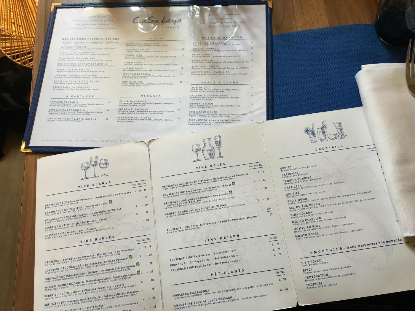 carte casa leya restaurant nice