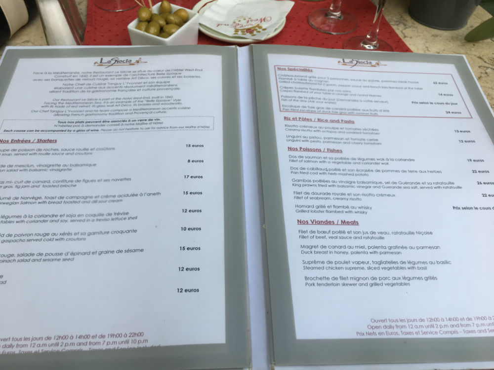 menu restaurant le siecle nice