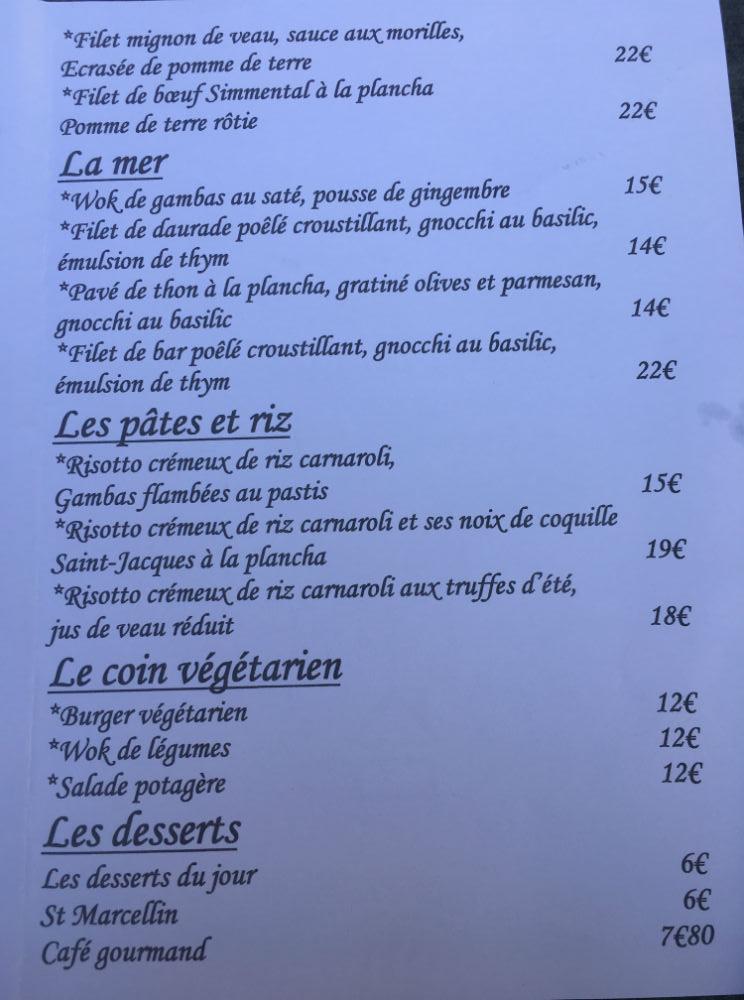carte restaurant cote jardin cannes