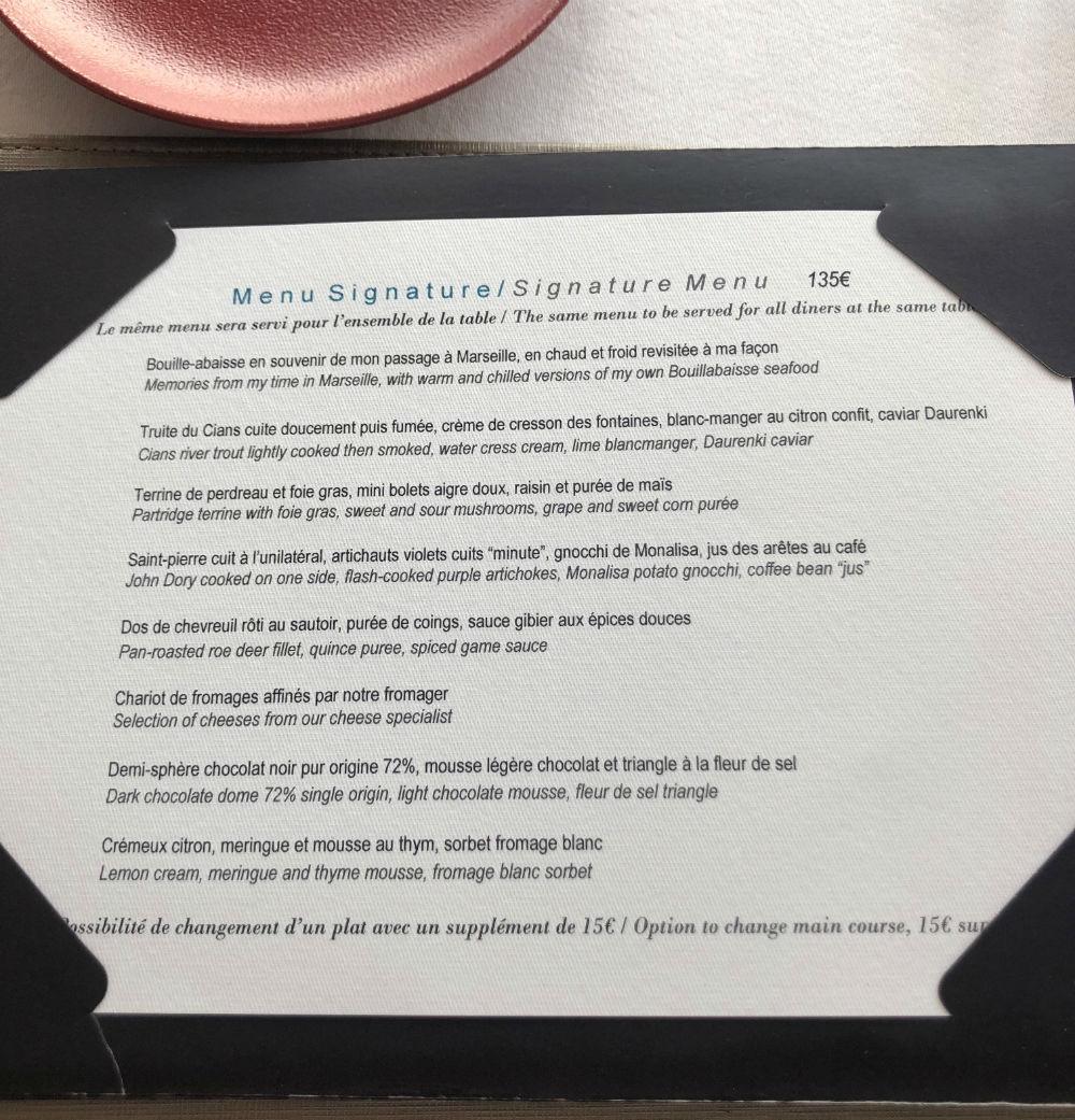 menu restaurant le mas candille mougins