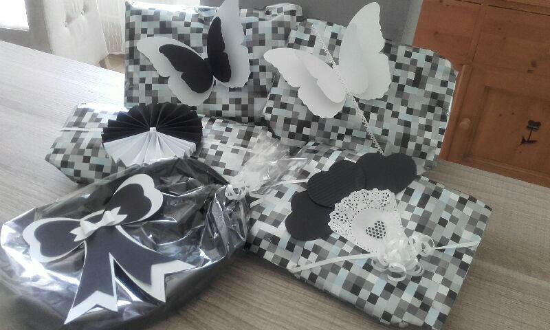 emballage cadeau noir blanc