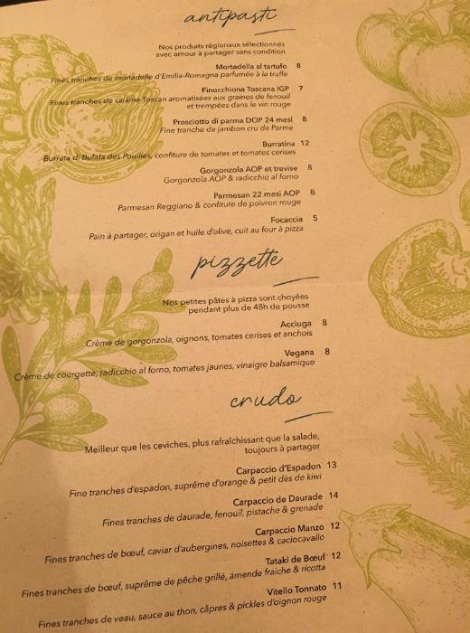 carte restaurant miamici nice