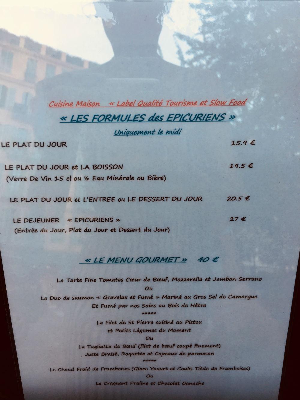 carte les epicuriens restaurant nice