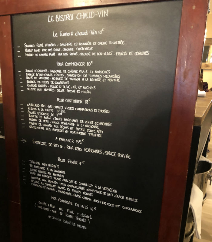 carte bistrot chaud vin nice