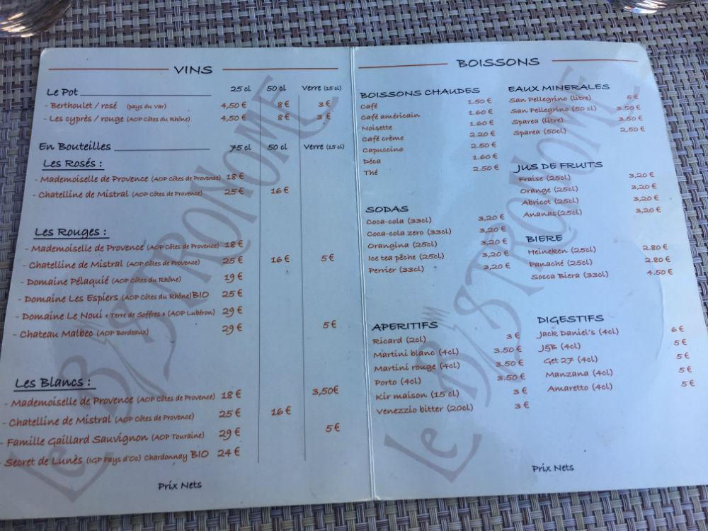 carte boisson restaurant le bistronome nice
