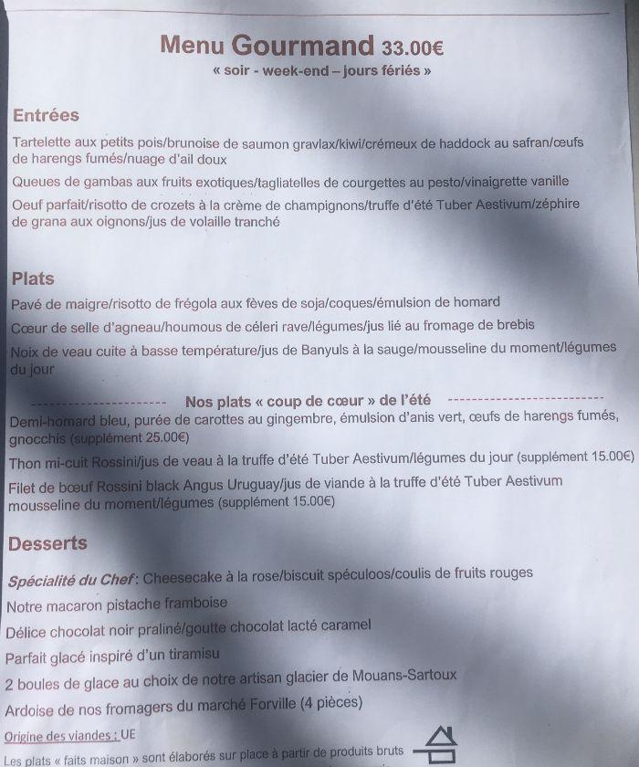 menu soir lougolin